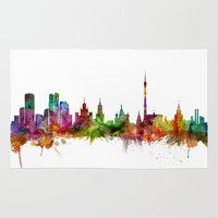 russia Area & Throw Rugs featuring Moscow Russia Skyline by artPause