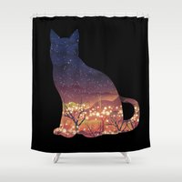 space cat Shower Curtains featuring Space Cat by dan elijah g. fajardo