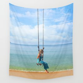 Woman relaxing on a swing on the beach , koh Samui, Suratthani, Thailand Wall Tapestry