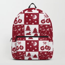 Bright red and white Christmas background Backpack