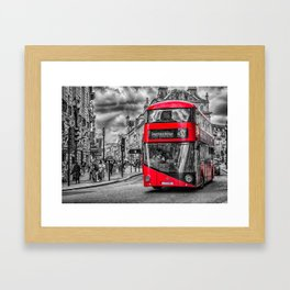 London Red Bus at Piccadilly Framed Art Print
