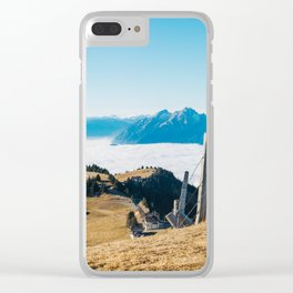 Alpine Peaks Sticking Out of Sea of Fog Clear iPhone Case