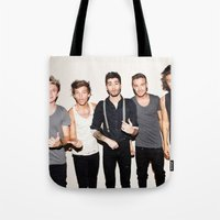one direction Tote Bags featuring One Direction by Max Jones
