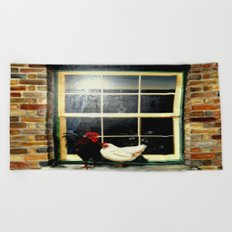 The rooster and a hen on a window Ledge Beach Towel