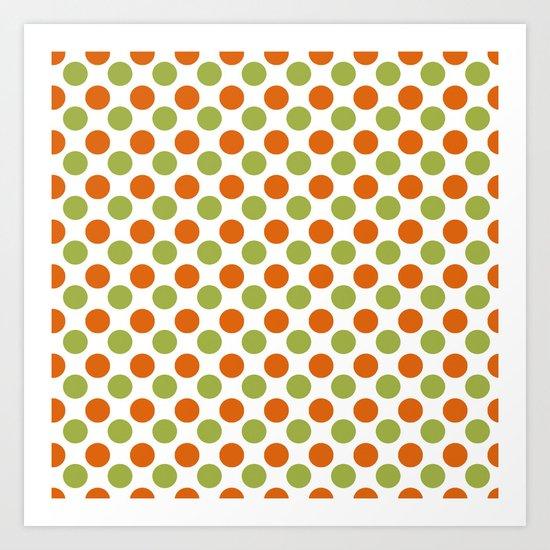 Green Orange Dots Art Print