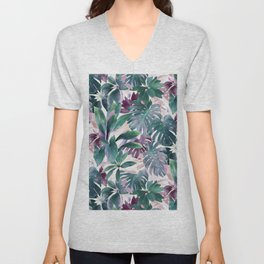 Tropical Emerald Jungle in light cool tones Unisex V-Neck