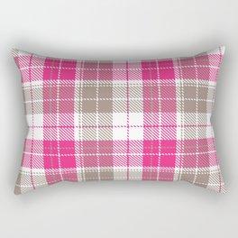 Pink & Natural Tartan Pattern Rectangular Pillow