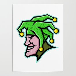Harlequin Head Side Mascot Poster