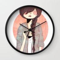 nan lawson Wall Clocks featuring Some Fashion by Nan Lawson
