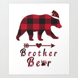 Brother Bear Christmas Pajama Red Plaid Buffalo Family Gift Art Print