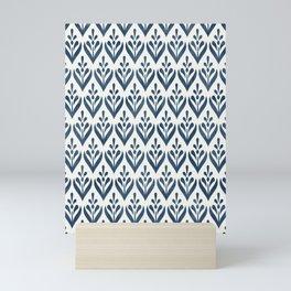 Sealmess Cute Scandinavian Navy Blue White Folk Art Pattern Traditional Cultural Style Mini Art Print
