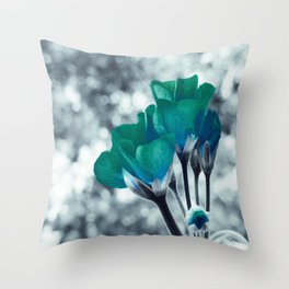 In Bloom Flowers Turquoise Teal Throw Pillow