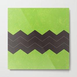 Lime Green and Dark Grey Chevron Metal Print