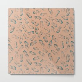 Peanut butter - peanut seamless pattern design light terracotta and charcoal Metal Print