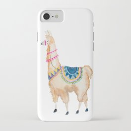 Watercolor llama iPhone Case