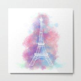Eiffel Tower Water Color Sketch Metal Print