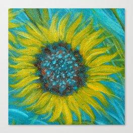 Sunflowers on Turquoise II Canvas Print