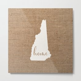 New Hampshire is Home - White on Burlap Metal Print