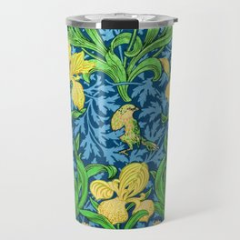 William Morris Irises, Yellow and Cobalt Blue Travel Mug