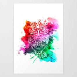 owl watercolor painting Art Print
