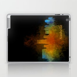 Nashville city skyline Tennessee watercolor v4 Dak Laptop & iPad Skin