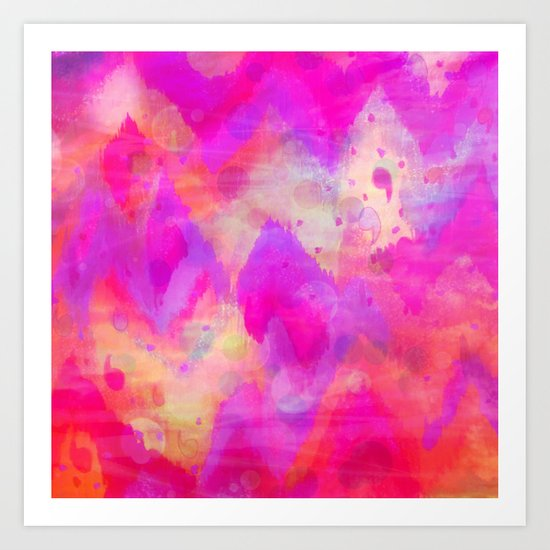 BOLD QUOTATION, Revisited - Intense Raspberry Peachy Pink Vibrant Abstract Watercolor Ikat Pattern Art Print
