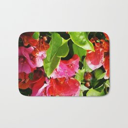 Vibrant pink and red flowers Bath Mat