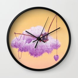 Purple penguin couple fish for purple hearts in a yellow sky Wall Clock