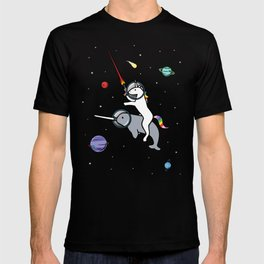 Unicorn Riding Narwhal In Space T-shirt
