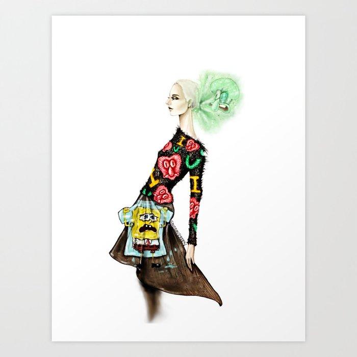 Spongebobs Eyelash Sweater Art Print By Ginosunscreen Society6