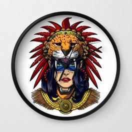 Aztec Jaguar Warrior Native Mexican Headdress Wall Clock