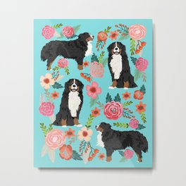 Bernese Mountain Dog pet portrait dog art illustration fur baby dog breed floral gift for dog lover Metal Print