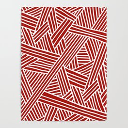 Abstract Navy Red & White Lines and Triangles Pattern Poster