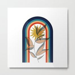 Abstract contemporary aesthetic poster with sun plant and geometric retro 70s rainbow boho wall art Metal Print