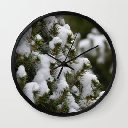Snowy Cedar Tree Wall Clock