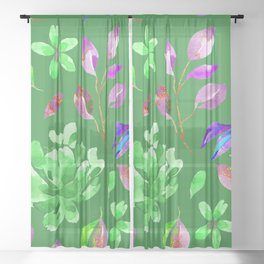 Green Floral Sheer Curtain