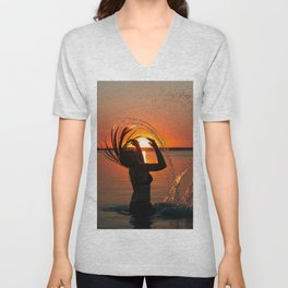 Water and sunset in the backlight Unisex V-Neck