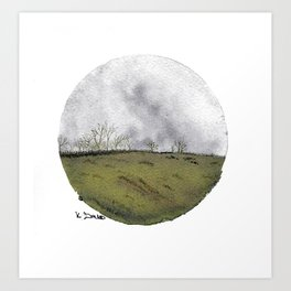 Cicular minimalist watercolour and ink landscape- grey and green Art Print