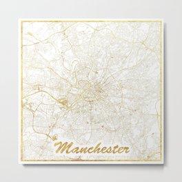 Manchester Map Gold Metal Print