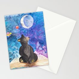 Surreal Bear Cub with Moon Balloon, Books and Imagination Stationery Cards