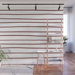 Inspired by Dunn Edwards Spice of Life DET439 Hand Drawn Horizontal Lines on White Wall Mural