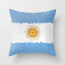 Extruded Flag of Argentina Throw Pillow
