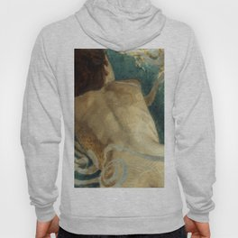 Backlite Nude Figure Oil painting Turquoise of Woman Hoody