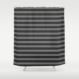 Phillip Gallant Media Design - White Lines on Black Shower Curtain