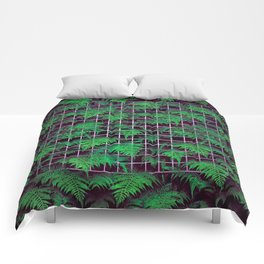 Fern Grid Plant Wall Comforters