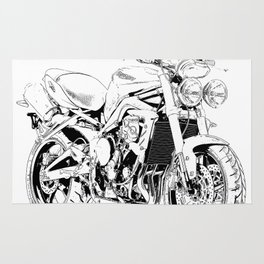 2011 Triumph Street Triple, black and white motorcycle Rug