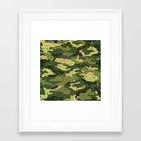 camouflage Framed Art Prints featuring CAMOUFLAGE by DIVIDUS