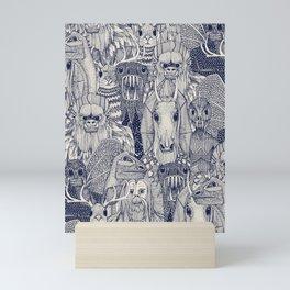cryptid crowd blue off white Mini Art Print