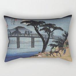 Hiroshige Man on horseback crossing a bridge Rectangular Pillow