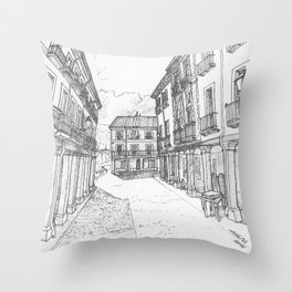 Calle Mayor of Alcalá Throw Pillow